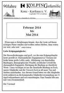Infoheft Kolpingsfamilie 01.2014